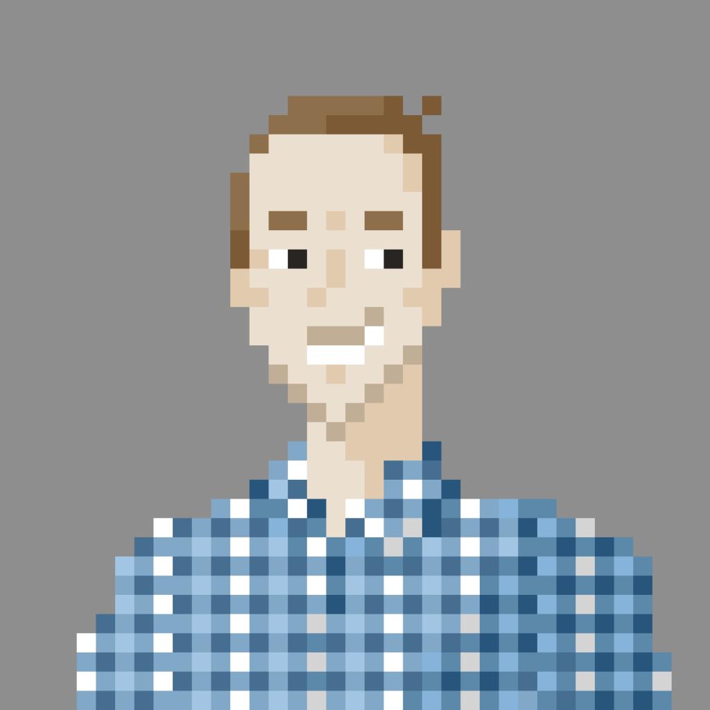 "Pixel portrait of Sven ""OTR"" Osterwalder"