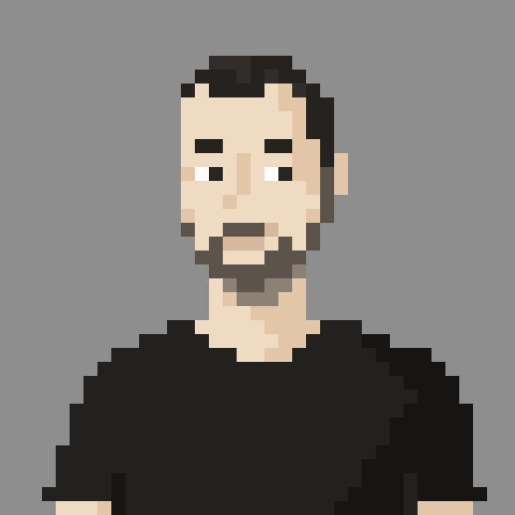 """Pixel portrait of Mario """"Psykon"""" Spuler"""